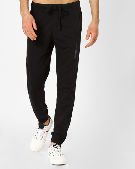 Joggers With Ribbed Panels By Wildcraft ( Black )