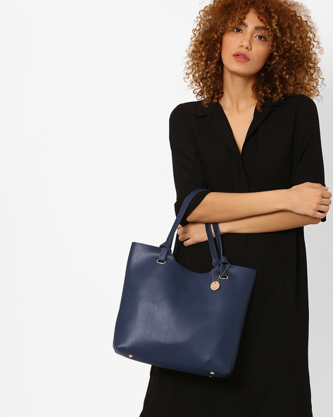 Hobo Bag With Flat Handles By Lino Perros ( Blue )