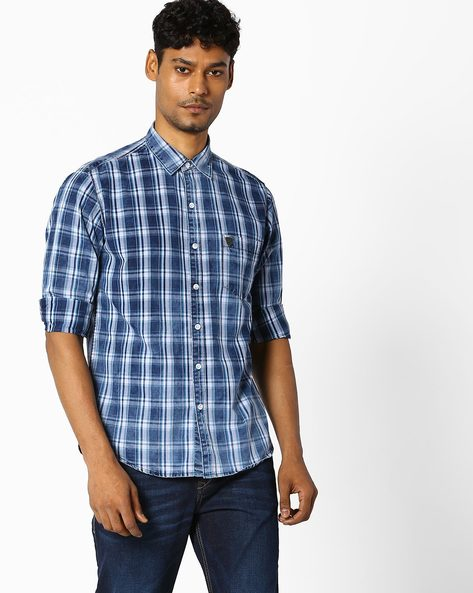 Shirt With Patch Pocket By JOHN PLAYERS ( Blue ) - 460057858003