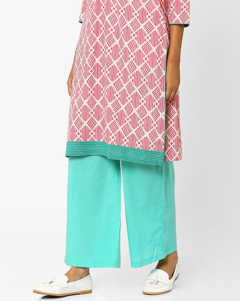 Palazzo Pants With Elasticated Waistband By AJIO ( Mint )