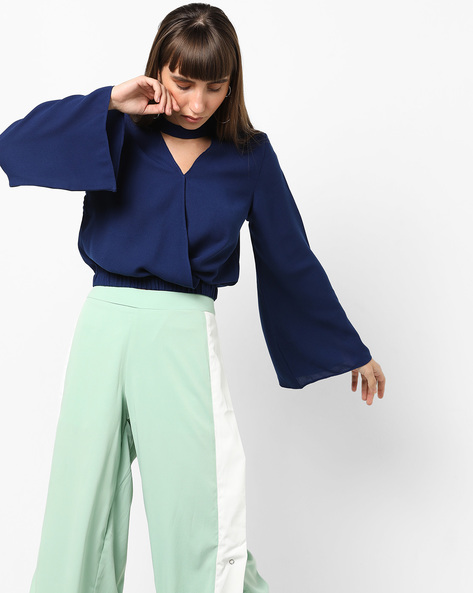 Surplice Top With Choker Neckline By AJIO ( Blue )