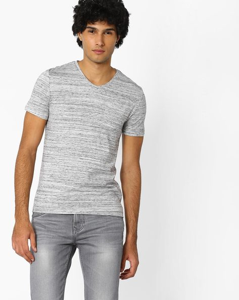 Slim Fit T-shirt With Patch Pocket By Celio ( Grey )
