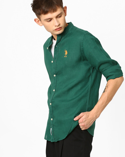 Linen Shirt With Mandarin Collar By US POLO ( Green ) - 460078070002