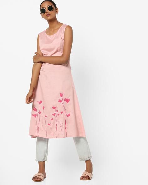 Floral Print A-line Sleeveless Dress By AJIO ( Pink )
