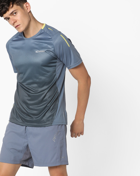 Crew-Neck Running T-Shirt With Ombre Effect By PERFORMAX ( Charcoal )