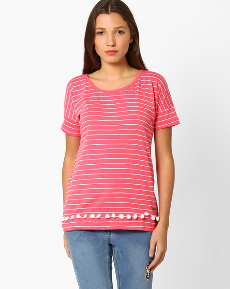 Striped T-shirt With Tassels By DNM X ( Redorange )