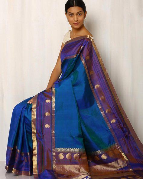 Handwoven Pure Silk Zari Pallu Saree By Rudrakaashe-MSU ( Turquoise )