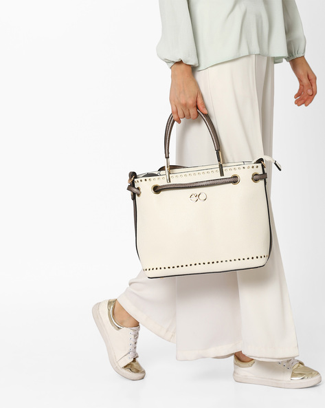 Satchel Bag With Eyelet Detail By E2O ( White )