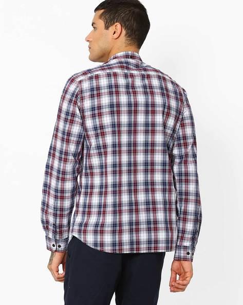 Yarn-Dyed Checked Shirt By AJIO ( Maroon )