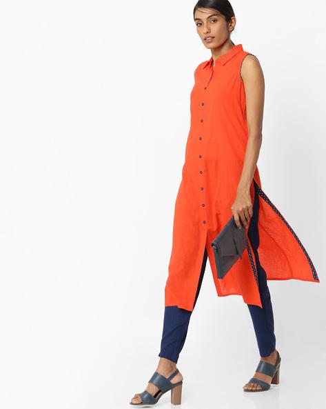 Straight Kurta With Shirt Collar By AVAASA MIX N' MATCH ( Orange )