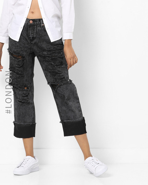 Low-Rise Distressed Jeans By Glamorous ( Charcoal )