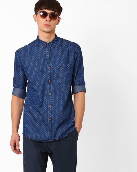 Printed Slim Fit Denim Shirt By British Club ( Navyblue )