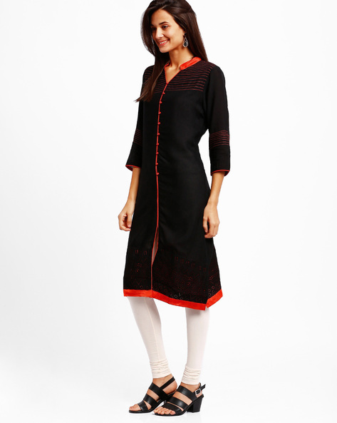 Kurta With Cut-Out Detailing By Tulsattva ( Black )