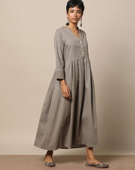 Pleated Cotton Dress With Front Placket By Seasons ( Grey )