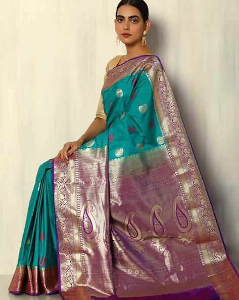Kanchipuram Mina Buta South Silk Saree By Pretty Woman ( Green )