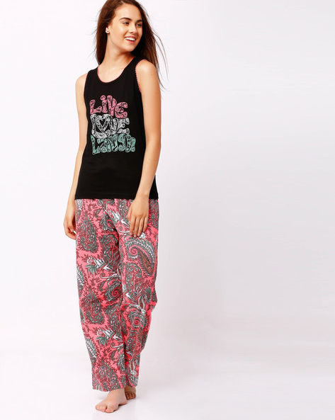 Printed Lounge Set By Heart 2 Heart ( Black )