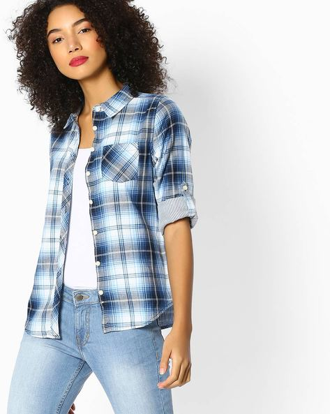 Checked Shirt With Roll-Tab Sleeves By DNMX ( Blue )