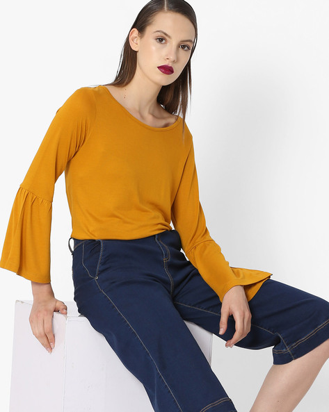 Knitted Top With Bell Sleeves By Project Eve WW Casual ( Mustard )