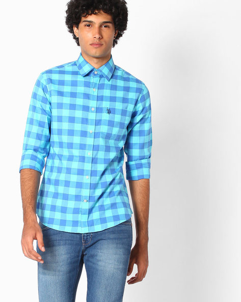 Gingham Check Cotton Shirt By US POLO ( Assorted )