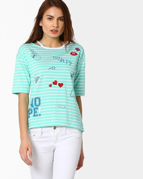 Striped T-shirt With Drop Shoulder Sleeeves By AJIO ( Aqua )