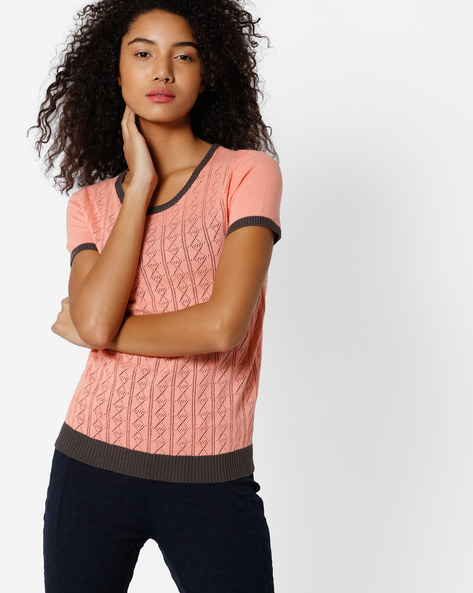 Cotton Open-Knit Top By FIG ( Ltpeach )