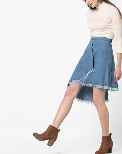 Denim Skirt With Asymmetrical Hemline By AJIO ( Lightblue )