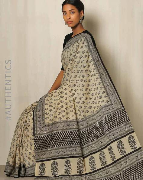 Bagru Handblock Print Cotton Saree By Indie Picks ( White )