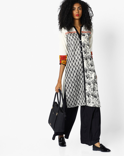 Printed Straight Kurta With Button Placket By SOCH ( Black )