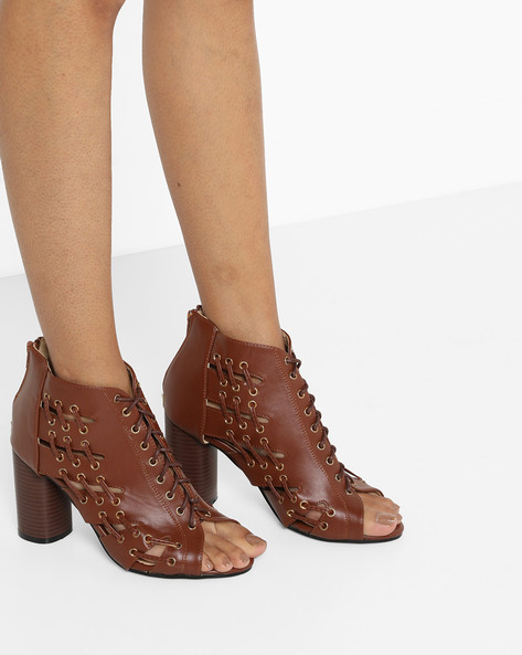 Heeled Sandals With Zipper Closure By MFT Couture ( Cognac )