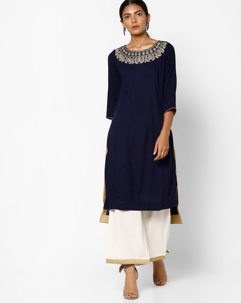 Embroidered High-Low Kurta With Palazzos By AVAASA SET ( Navy )