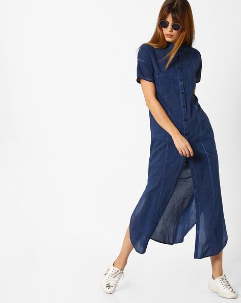 Denim Shirt Dress With Side Slits By AJIO ( Indigo )