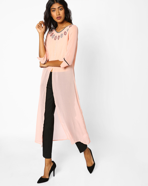 Embroidered Kurta With Front-Slit Hem By COLOUR ME ( Pink )