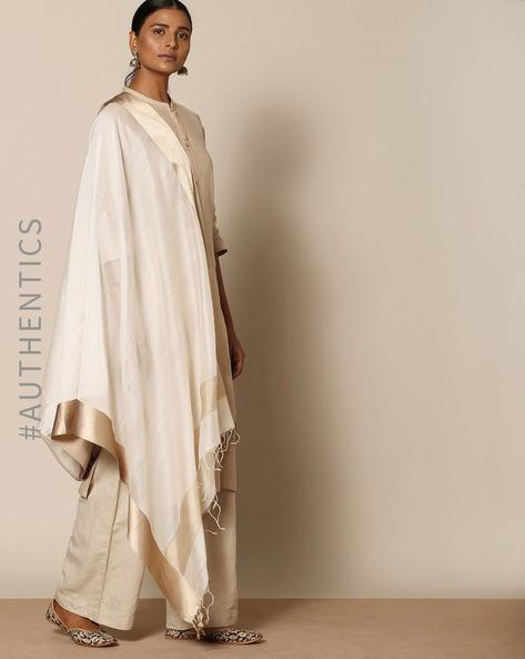 Handloom Pure Cotton Silk Maheshwari Dupatta By Indie Picks ( Offwhite )
