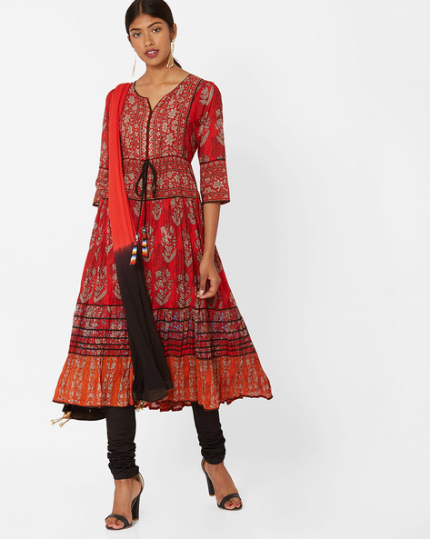 Printed Churidar Kurta With Dupatta By Rain & Rainbow ( Red )