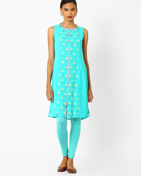 Embroidered Kurta With Front Slit By AJIO ( Lightblue )
