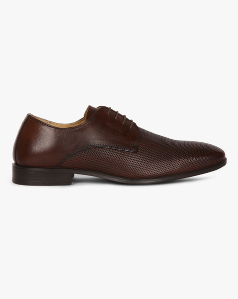 Genuine Leather Textured Derby Shoes By RED TAPE ( Brown )