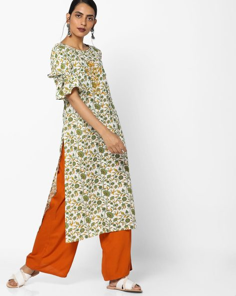 All-Over Floral Print Kurta By AJIO ( Freshsalmon )
