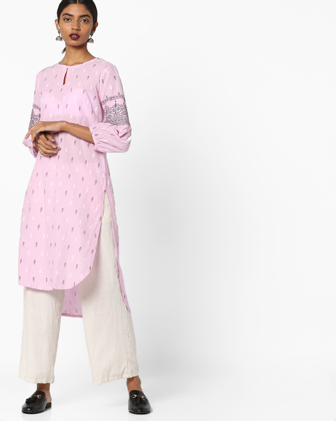 Printed Kurta With High-Low Hem By ARSHI ( Pink )