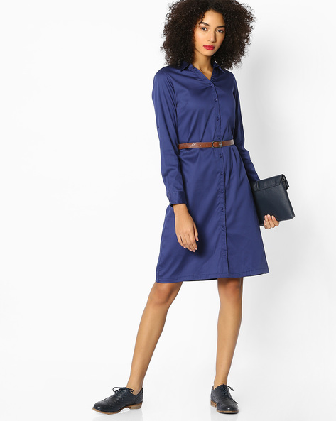 Shirt Dress With Belt By FIG ( Navy )