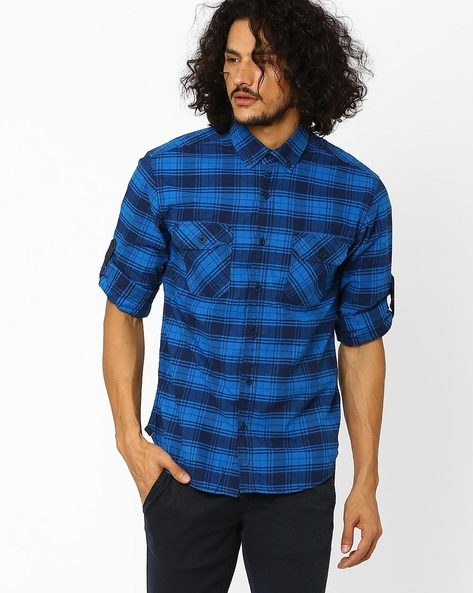 Checked Slim Fit Shirt With Roll-Up Tabs By Locomotive ( Blue )