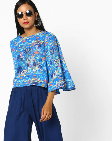 Printed Top With Flared Sleeves By AJIO ( Blue )