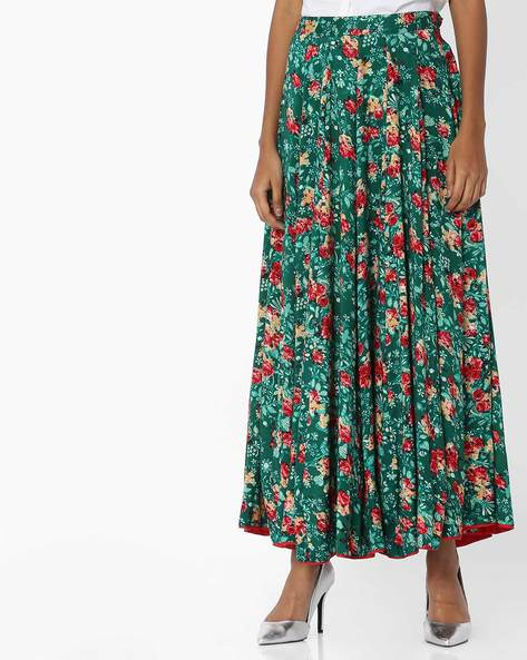 Floral Print Pleated Skirt By Biba ( Green )