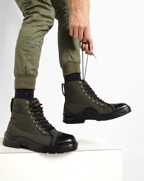 High-Top Sneaker Boots With Lace-Ups By SPARX ( Olive )