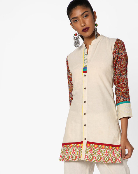 Shirt Kurta With Printed Sleeves By SOCH ( Beige )