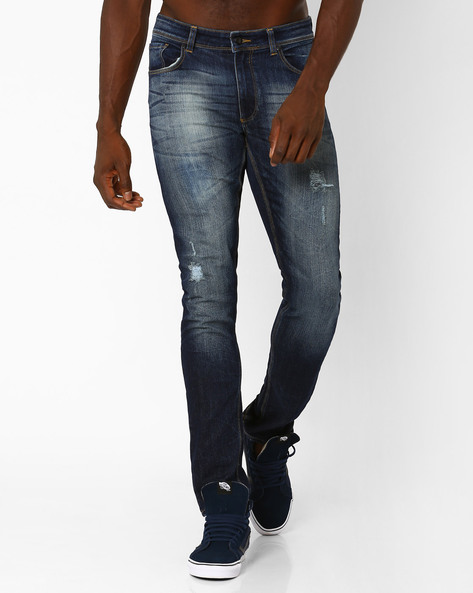 Distressed Lightly Washed Slim Fit Jeans By Blue Saint ( Indigo )