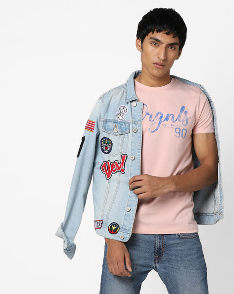 Typography Print Slim Fit T-shirt By Jack & Jones ( Pink )