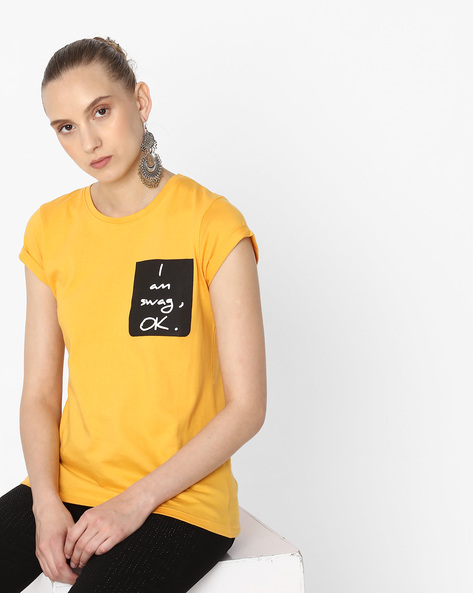 Crew-Neck T-shirt With Typography By Alibi ( Yellow )