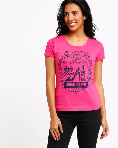 Graphic Print T-shirt By AJIO ( Pink ) - 460002350002