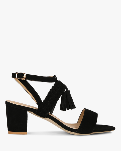 Heeled Sandals With Braided Strap By MFT Couture ( Black )