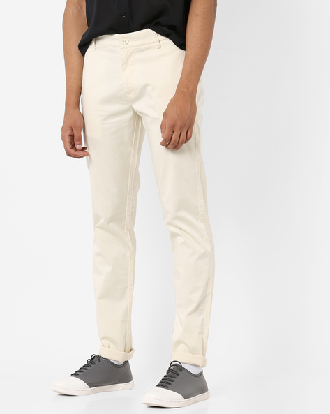 Slim Fit Mid-Rise Chinos By SPYKAR ( Ivory )